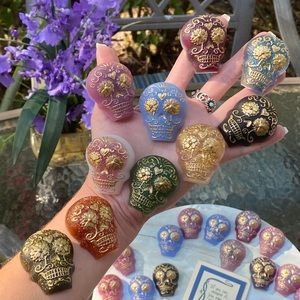 PACK OF 6 Magnets Sugar Skull Colorful Resin Art